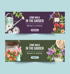 Flower garden banner design with watering pot vector