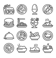 Food icon set gray outline style vector