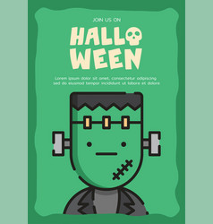 Frankenstein invitation card template vector