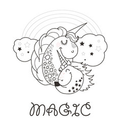 funny and hapy outlined cartoon style unicorn vector image
