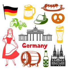 german icons set germany national traditional vector image