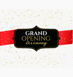 grand opening ceremony banner with golden confetti vector image