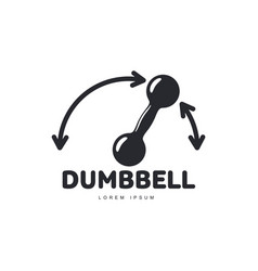 graphic logo template with iron dumbbell and vector image