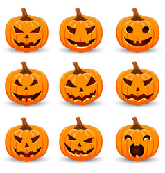 Halloween pumpkin set emotion variation simple vector