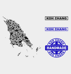 Handmade composition koh chang map and textured vector