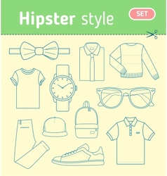 Hipster fashion look Set of mens clothing vector image