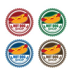 Hot dog stamp logo vector