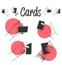 Human hands playing with cards Magic tricks vector
