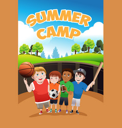 kids summer camp flyer vector image