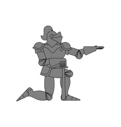 Knight standing on one knee isolated valentines vector