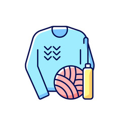 Knitwear alteration and repair rgb color icon vector