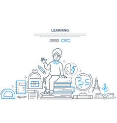 learning - modern line design style banner vector image