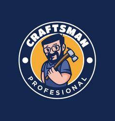logo crafts man vintage badge style vector image