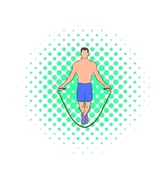 Man jumping with skipping rope icon comics style vector