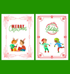 Merry christmas and happy holidays children set vector