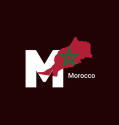 morocco initial letter country with map and flag vector image