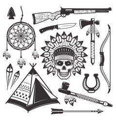 native american indian objects and elements vector image