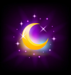 Night crescent moon symbol crescent icon for slot vector