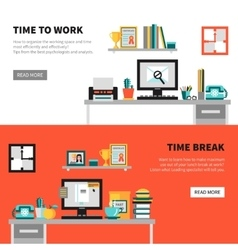 Office Banners With Workspace Design Sets vector