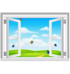 Open White Window with Scenery vector image