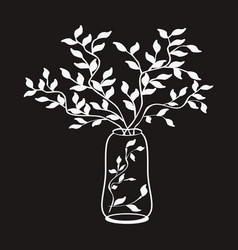 Outline simple white tree branches vector