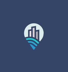 pin city house logotype premium real estate logo vector image