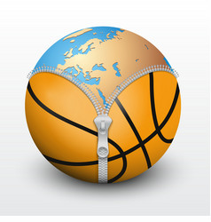 Planet Earth inside basketball ball vector image