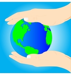 Planet land in hand of the person vector image