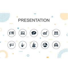 Presentation trendy infographic template thin vector