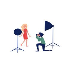 professional photographer shooting fashion model vector image