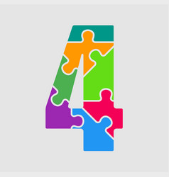 puzzle jigsaw figure or number - 4 gigsaw vector image
