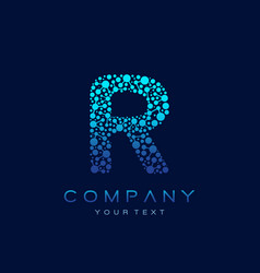 r letter logo science technology connected dots vector image