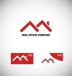 Real estate red house roof logo vector