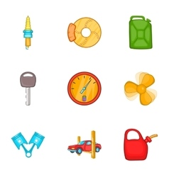 Repair machine icons set cartoon style vector image