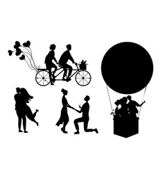 Romantic couples silhouettes isolated on white vector