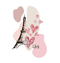 Romantic design with eiffel tower hearts vector