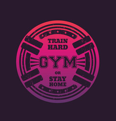 round gym emblem logo badge with barbells vector image