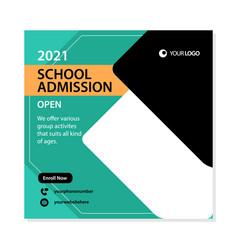 School admission social media post template design vector