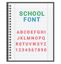 school font alphabet in notebook vector image