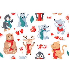 seamless christmas pattern background with animals vector image