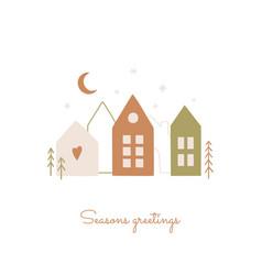 seasons greetings card in scandinavian hand vector image