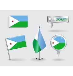 Set of Djibouti pin icon and map pointer flags vector