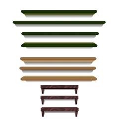 Set of shelves different colors and sizes vector