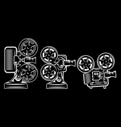 set various movie projectors retro style vector image