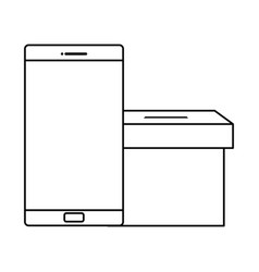 smartphone with ballot box line style vector image