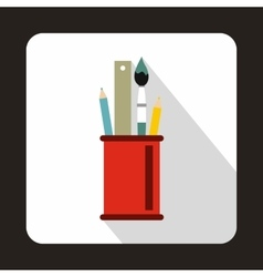 Stationery in red cup icon flat style vector image