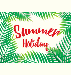 summer holiday with beach palm background vector image