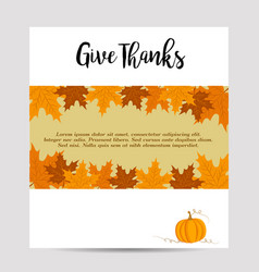 thanksgiving autumn background with pumpkin vector image