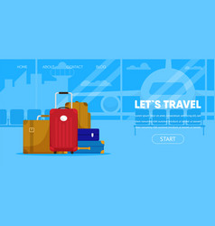 tourist baggage passenger lugagge airport terminal vector image