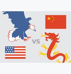 trade war concept usa versus china eagle vector image